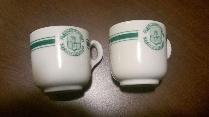 Two 1952 2 3/8 inch tall Demitasse China Cups El Country Club De La Habana Hotel