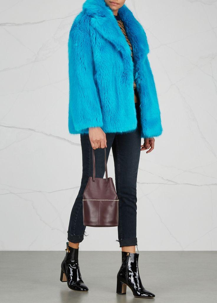 Diane von Furstenberg blue faux fur jacket