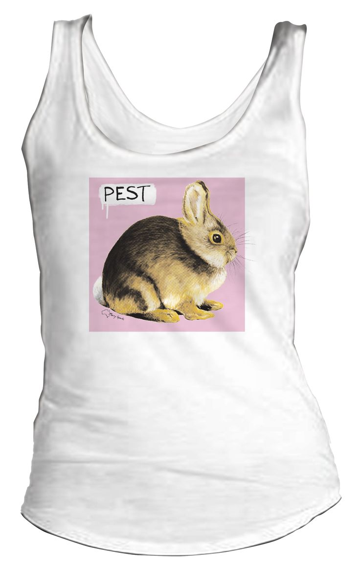 """Australian Souvenirs - Bunny which is a """"Pest"""" in Australia - T-shirts & Tanks for Guys and Chicks, sizes: XS (Chicks only), S, M, L, XL and 2XL (Guys only) in white by Merry Sparks http://merrysparks.com/tshirts-tanks/"""