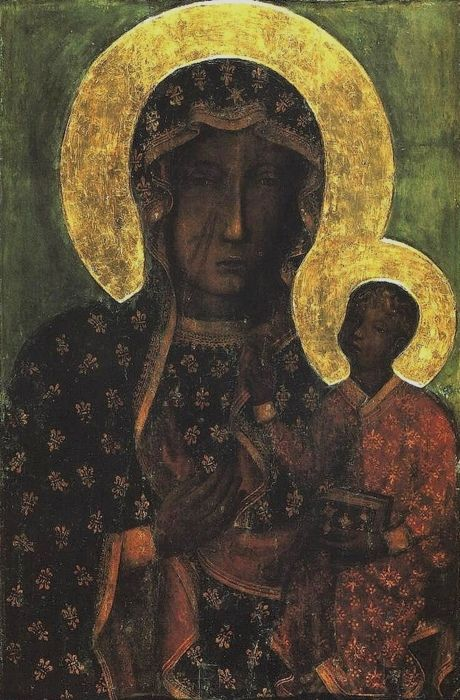 The Black Madonna of Częstochowa Painted by St Luke while he was being told stories of the life of Jesus from Mary herself. The picture was painted on a table used by the Holy Family itself.