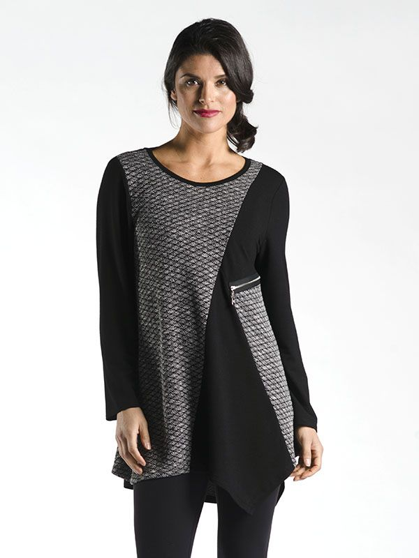 Asymmetrical Tunic with Zipper Detail in Black - With a twist on the traditional colour blocking technique , this tunic showcases a soft fabric with metallic accents all throughout.  A great workhorse piece that will be sure to be a new favourite! Available on Black, Royal Blue, Teal, and Brown.