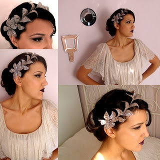 Handmade headpice with crystal beads and silver wire.