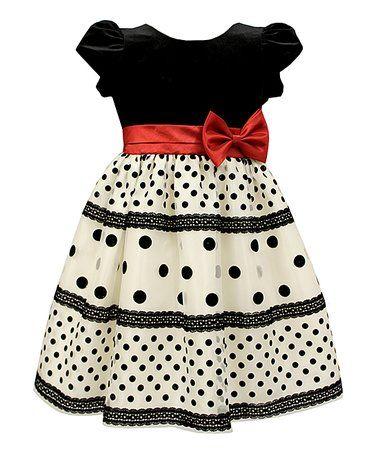 Black & White Dot Velvet Dress - Infant & Toddler