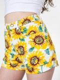 Sunflower Print Stretch Bull Denim High-Waist Cuff Short | American Apparel