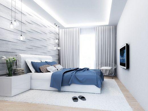 Спальня является второй по величине зоной рассматриваемой квартиры. Из предметов мебели здесь имеется следующее: большая 2-спальная кровать из МДФ, покрытая лаком; 4-дверный шкаф «Scandy»; стул, каркас которого выполнен из крашеного металла, а сиденье из полиуретановой кожи PU. Стены и текстиль на окнах выдержаны в одной бело-серой цветовой гамме.
