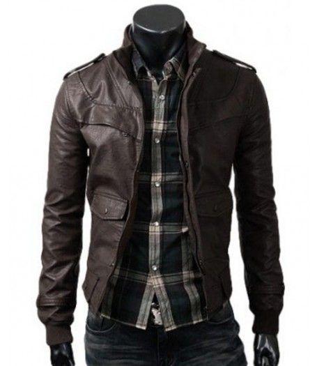 Mens Brown Fitted Jacket Slim Leather Jacket Dark Brown Leather Jacket Black Leather Jacket Men Leather Jacket Men