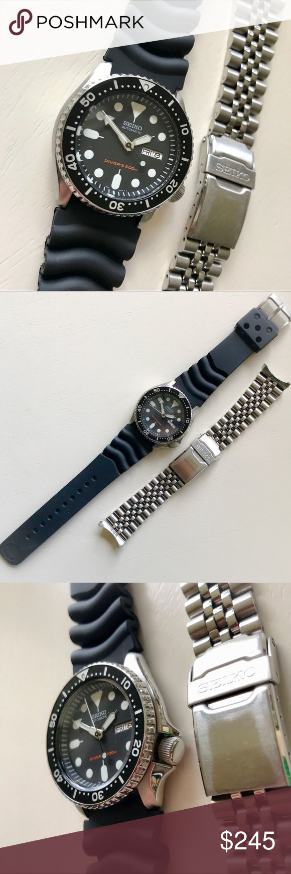 Seiko Dive Watch Seiko Dive Watch. 200m depth, Automatic movement, brand new black rubber sport band and original metal bracelet band included. Seiko Accessories Watches