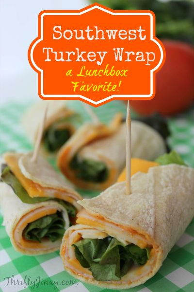 This Southwest Turkey Wrap is perfect for school lunch or work. It's easy to make with a homemade, tangy southwest sauce. #charlottepediatricclinic