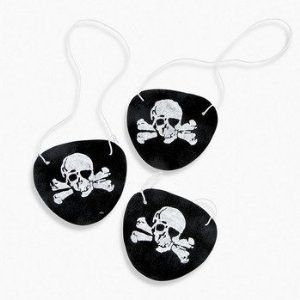 These black pirate eye patches are made out of felt and come with elastic to keep them firmly in place. There are 12 patches and each measure 3.25 inches. Perfect for birthdays, parties, costumes, and