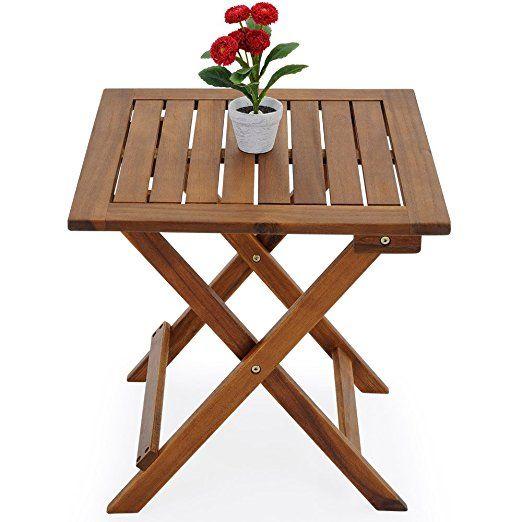 Fancy Beistelltisch Klapptisch Holztisch Gartentisch Kaffeetisch Bistrotisch aus Akazienholz x cm braun Garten Balkon
