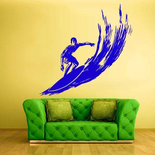 Wall Vinyl Sticker Decals Decor Art Bedroom Design Mural Surfer Surf Board Ocean Water Sport Beach (z513) via Etsy