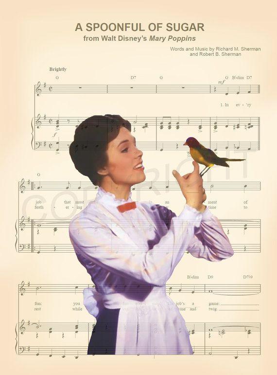 Mary Poppins cuillère pleine de sucre musique Art par AmourPrints