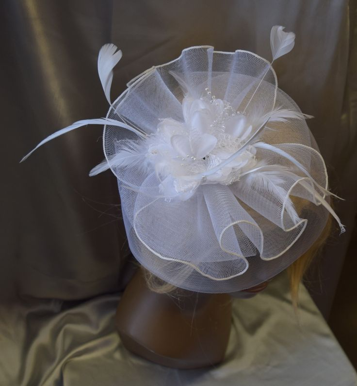 Fancy  Fascinator White Clip with Feathers