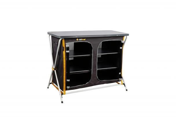 Deluxe Folding 3 Shelf Double Cupboard Cupboard Camping Storage Locker Storage