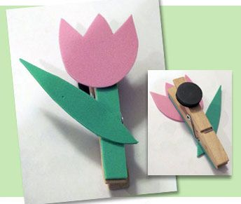 Cute tulip clothespin magnet #crafts #DIY #kids #easy