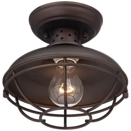 """Above sink lighting - Franklin Park Vintage Metal Cage 8 1/2"""" Wide Ceiling Light - #2T222   LampsPlus.com"""