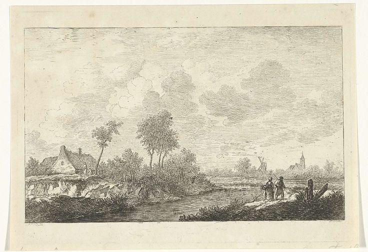 baron Reinierus Albertus Ludovicus van Isendoorn à Blois | Rivierlandschap, baron Reinierus Albertus Ludovicus van Isendoorn à Blois, 1796 - 1856 | Een man en een vrouw, op de rug gezien, lopen langs een rivier. Rechts een molen en een kerk aan de horizon. Links aan de overzijde van de rivier een huis en twee figuren.