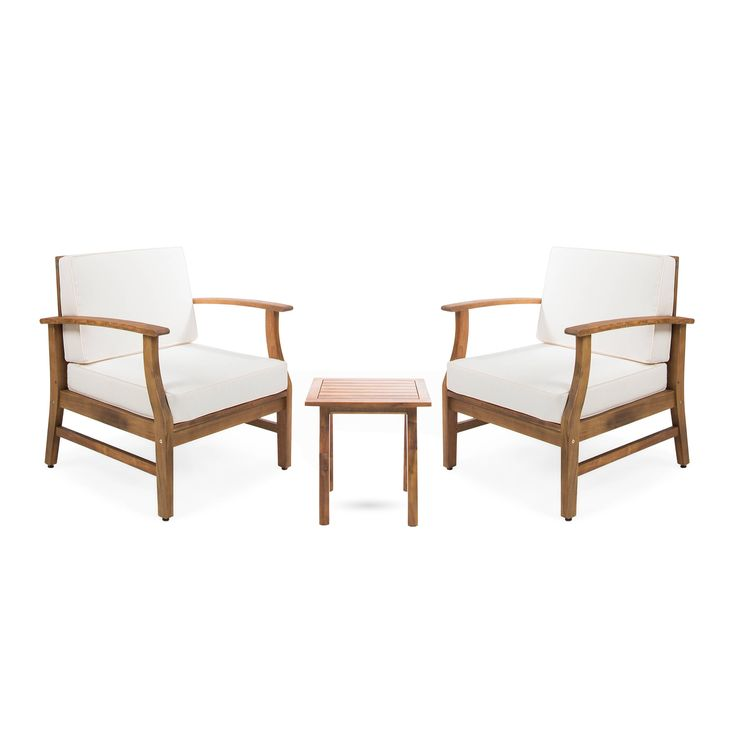 perla outdoor 3piece acacia wood chat set with cushion by christopher knight home teak finish cream brown size 3piece sets patio furniture