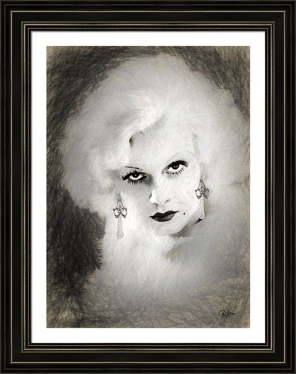 #Jean #Harlow Face Framed Print By Quim Abella
