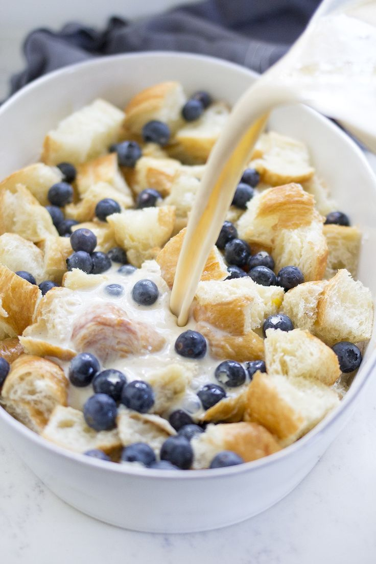 Easy Blueberry Croissant Bread Pudding Breakfast Recipe
