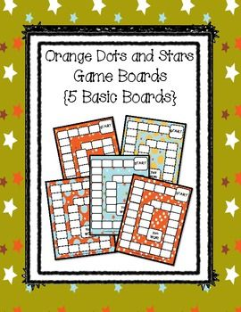 This is a set of 5 orange dots and stars themed boards. They are very basic boards where students will just roll a dice to move around the board. T...Theme Boards, Games Boards, Basic Boards