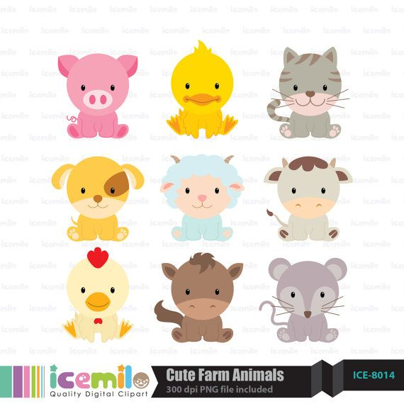 This digital clipart set including 9 Cute Farm Animals. Each clipart saved separately as a high resolution PNG file with a transparent background.