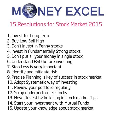 Are you wondering how to get more money by stock market in 2015? Here is 15 Financial Resolutions for stock market 2015.