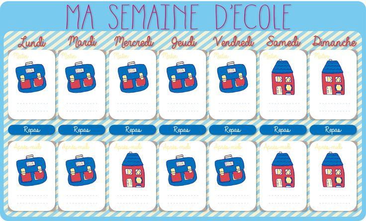 Calendrier de la semaine d'école à imprimer  http://allomamandodo.com/le-calendrier-de-la-semaine-decole-imprimer-cadeau/                                                                                                                                                     Plus