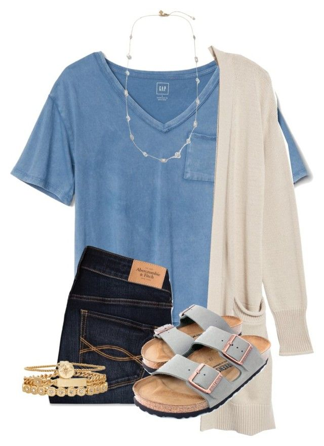 """Untitled #206"" by lhnlila on Polyvore featuring Gap, AG Adriano Goldschmied, Abercrombie & Fitch, Birkenstock and Treasure & Bond"