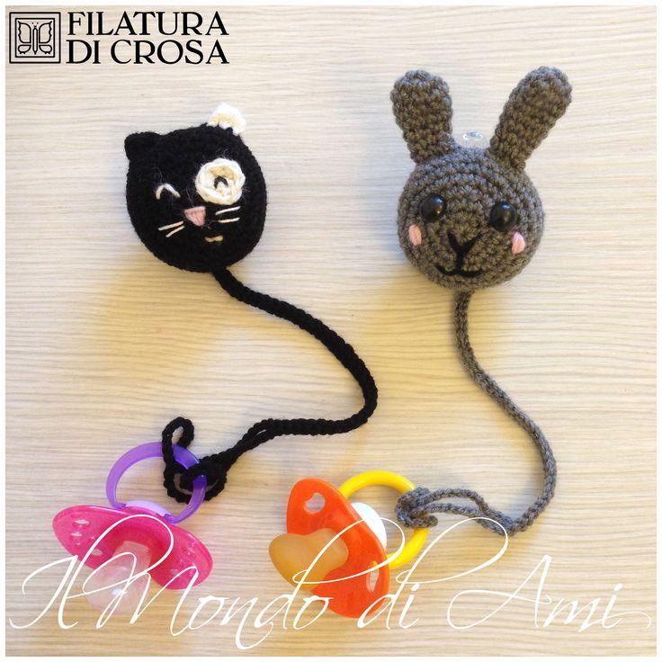 """Portaciucci gatto e coniglietto #handmade #crochet #amigurumi realizzati con filato """"Zarina"""" Filatura di Crosa"""