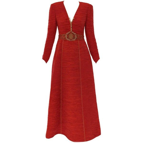 Rare 1980's Mary McFadden Couture Gown ($1,495) ❤ liked on Polyvore featuring dresses, gowns, long sleeve dress, long sleeve v neck dress, gold gown, gold long sleeve dress and red long sleeve dress