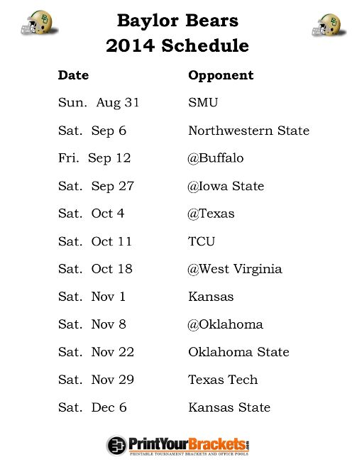 Printable Baylor Bears Football Schedule 2014