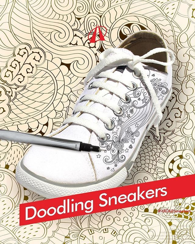 Ardiles Sneakers Lovers, jika kamu sudah boring dengan tampilan polos, coba deh doodling di sneakers canvas putihmu. 1.Siapkan drawing pen atau spidol, bisa juga kuas dan cat. Warna terserah kreasimu. 2.Pikirkan temanya. Mau doodle apa? Bunga/hewan/manusia/abstrak? 3.Mulai dari 1 obyek pertama. Lalu gambar obyek lain menyebar ke sampingnya. 4.Setelah all doodle selesai, pastikan dipilox clear agar gambar awet tidak luntur. Beli sneakersnya di www.ardilessneakers.com