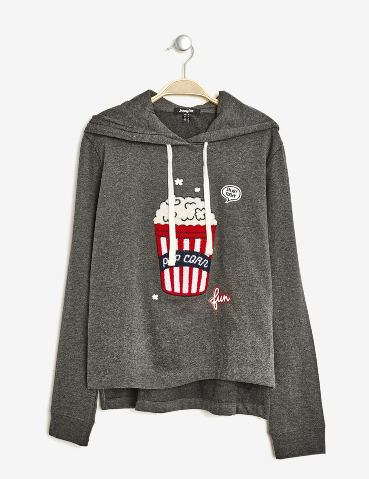 Sweat patch pop corn gris anthracite chiné femme • Jennyfer