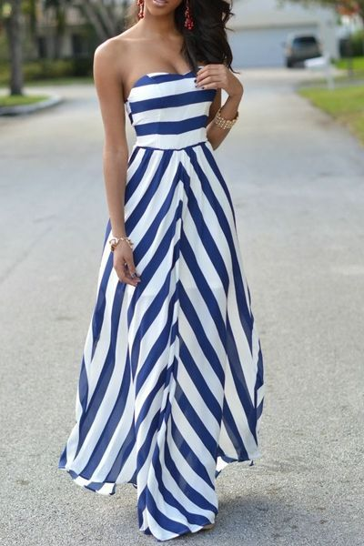 Striped Strapless Maxi Dress                                                                                                                                                                                 More #maxidresses