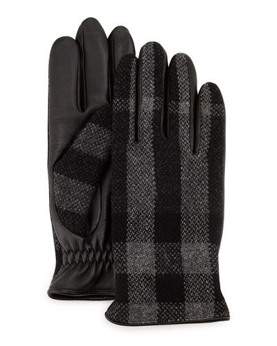 Burberry+Oscar+Wool+Leather+Check+Gloves+ +Accessory