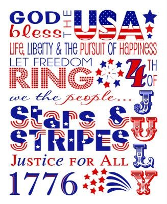 God Bless the USA Free Subway Word Art Printable for July 4th
