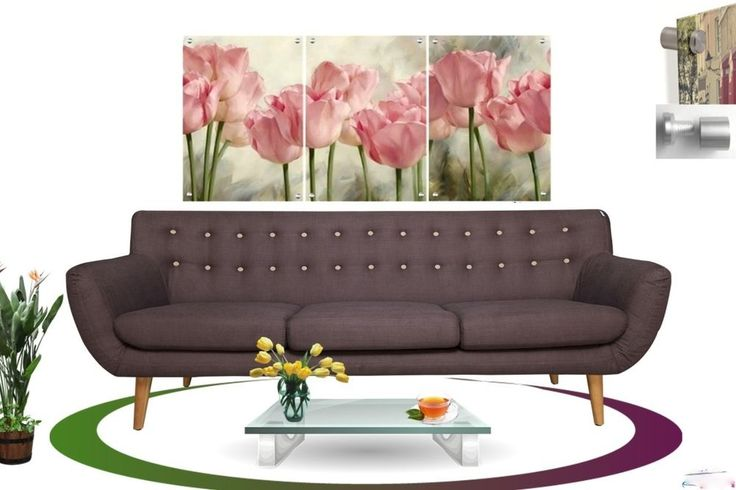 Wall Art in Floating Acrylic Glass Plexiglass Modern Art Flowers Decor 3 Panel #Modern