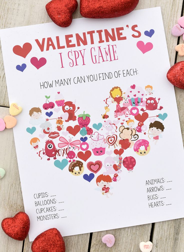 Free Printable Valentine Games–I Spy, Word Search, Tic Tac Toe, and