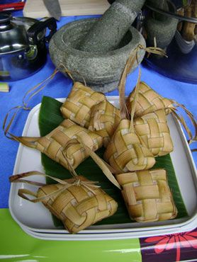 This is a kind of dumpling that is made of rice.  It's commonly found in the Philippines, Singapore, Malaysia, Indonesia and Brunei.