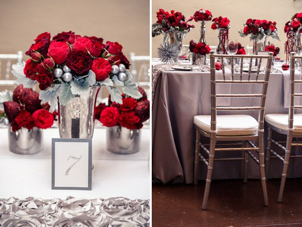 holiday xmas wedding red grey silver @Kaitlyn Mattson York