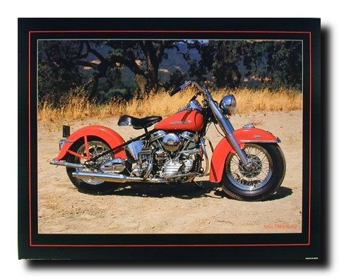 1954 Red Panhead Harley Davidson Vintage Motorcycle Bike Wall Decor Art Print Poster 16x20