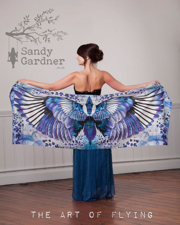 Flight of the Magpie, Artwear, Magpie Scarf, Winged scarf, bird wings,  winged shawl, magpie shawl, by SandyGardnerArtist on Etsy https://www.etsy.com/uk/listing/457963998/flight-of-the-magpie-artwear-magpie