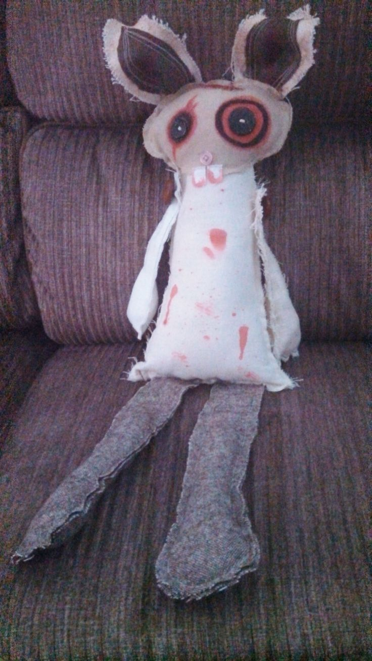 Handmade zombie bunny, monster doll, one-of-a-kind, Woodland Dead, zombunny, zombie rabbit by Catherine Smith