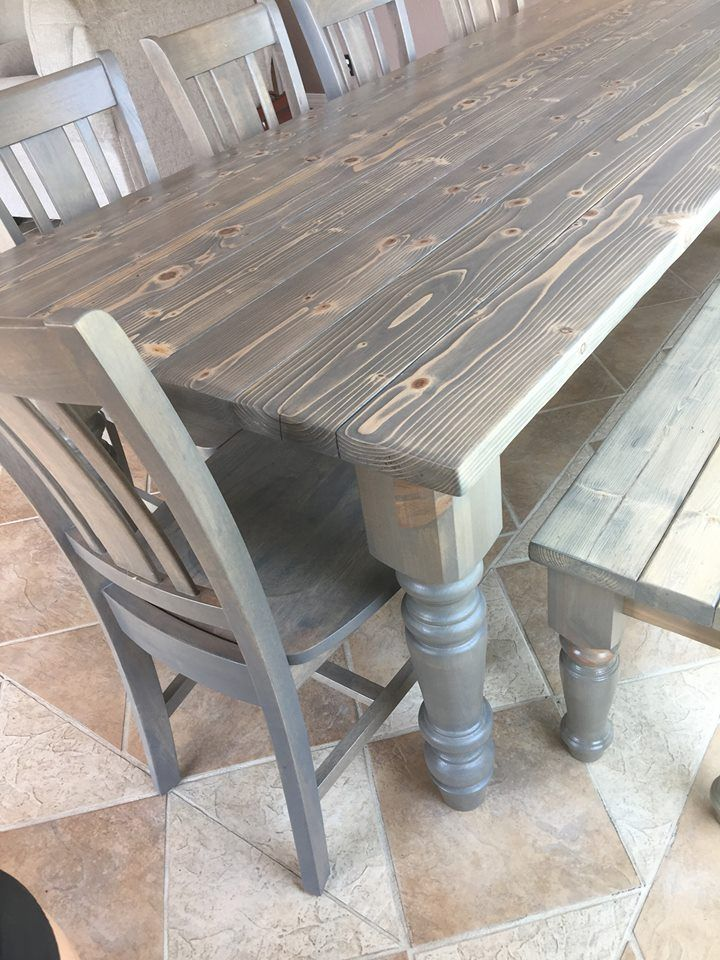 Grey Harvest table, setting in its beautiful lake home.   find us on facebook @  www.facebook.com/perryloopfurniture/ and instagram.com/perryloop harvest table, farm style table, grey dinning table,
