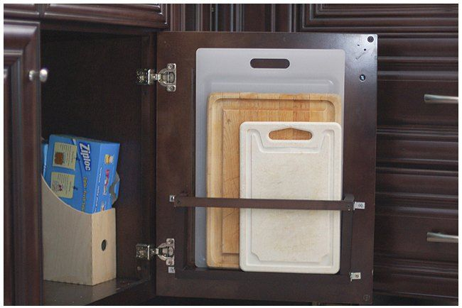 DIY Vertical Behind The Cabinet Door Cutting Board Holder