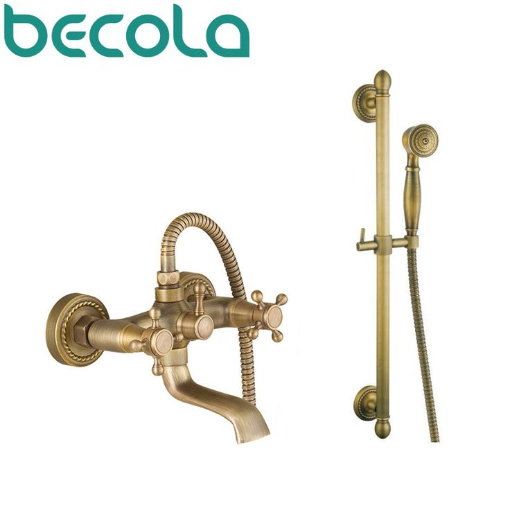 Free shipping wall mounted waterfall shower faucet Antique brass bathroom faucet shower set HY-691