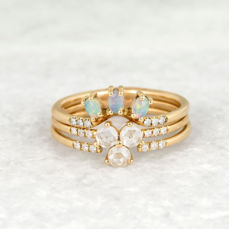 Jennie Opal Trio Equilibrium Ring 14k Gold with White Diamond