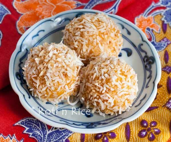 These balls of Ondeh-Ondeh are so fun to eat. They are made with sweet potatoes and glutinous rice flour rolled in coconut with a little surprise in them. #malaysianfood #dessert