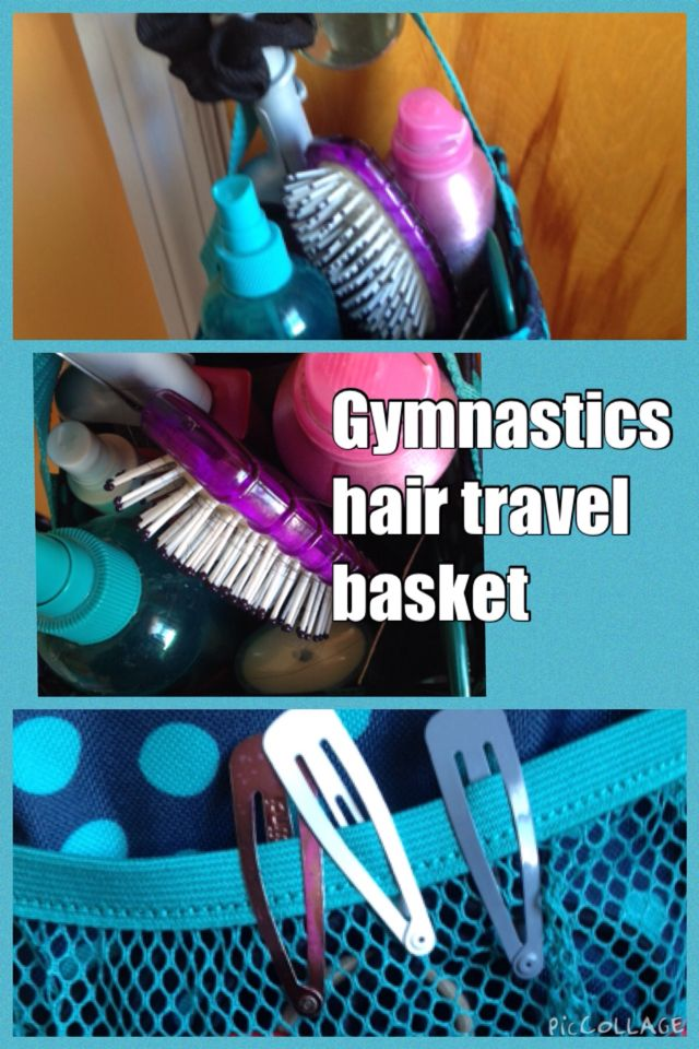 Gymnastics hair travel basket.  Put all your meet necessities in this basket. Great for overnight stays at hotels for early meets.  Brush. Comb. Hair products. Hair ties and elastics. Deodorant. Clips. Lotion.